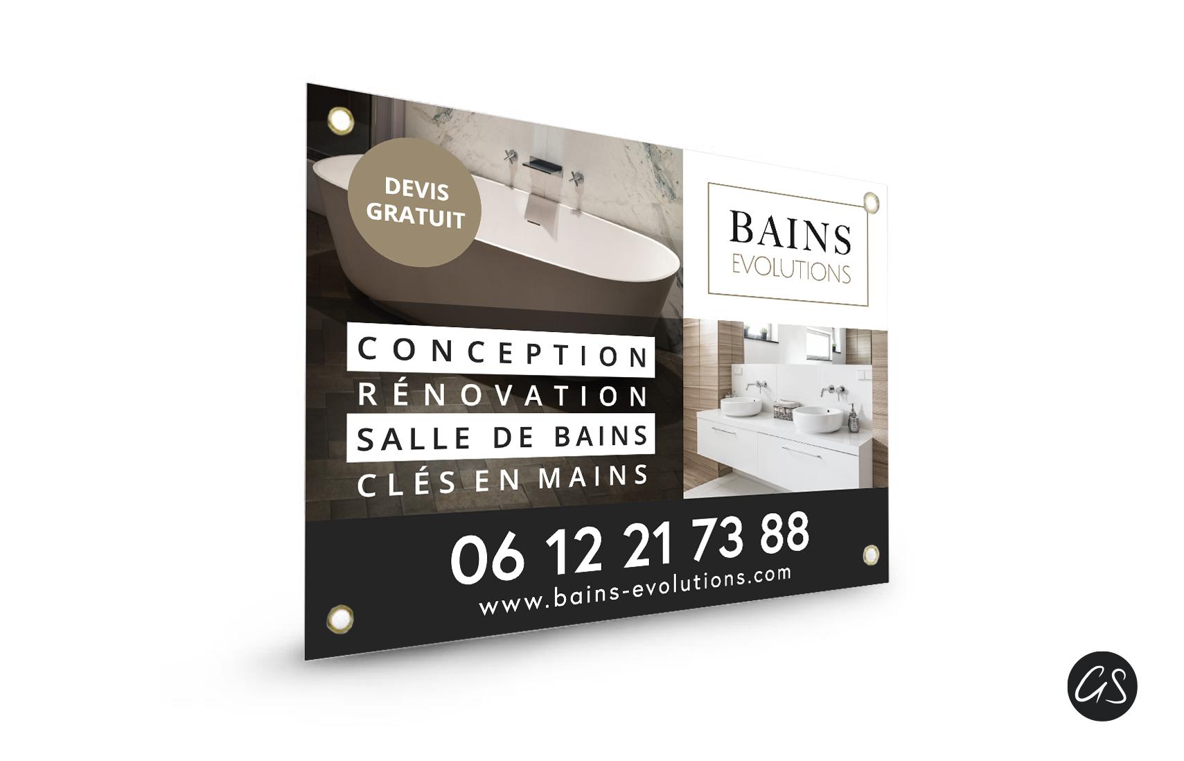 Création Graphique Panneau Akilux Artisan Plombier Salle de bains Ile de France 974