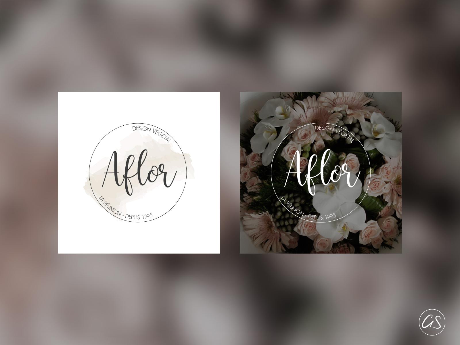 Logo Aflor Design et déclinaisons - Par GS Agence créative 974